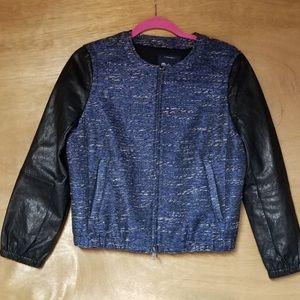 Madewell Metallic Blue Tweed Leather Sleeve Jacket